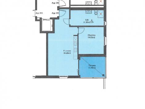 Appartement neuf de 2.5 pièces au 3ème étage